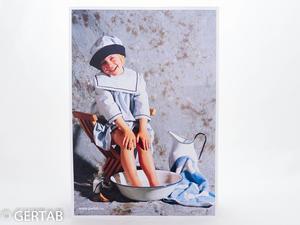 Plansch flicka i fotbad blå/vit